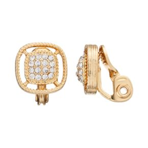 Napier Openwork Square Clip On Earrings