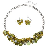 Olive Composite Shell Beaded Necklace & Drop Earring Set
