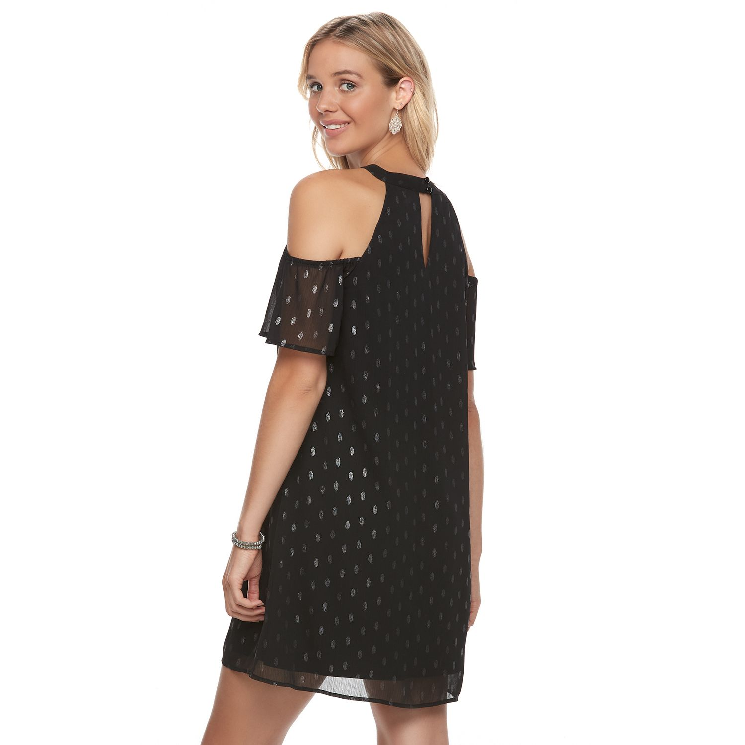 Kohls black polka dot dress