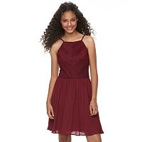 Juniors' Lily Rose Lace Halter Skater Dress