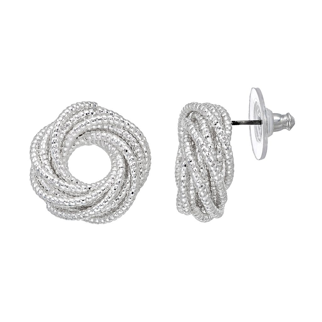 Napier Textured Swirl Nickel Free Drop Earrings