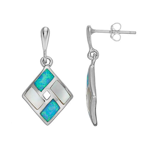 Sterling Silver Mother-of-Pearl & Lab-Created Blue Opal Kite Drop Earrings