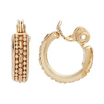 Napier Beaded Chain Nickel Free Clip On Hoop Earrings