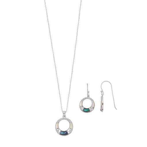 Sterling Silver Abalone & Mother-of-Pearl Circle Pendant & Earring Set
