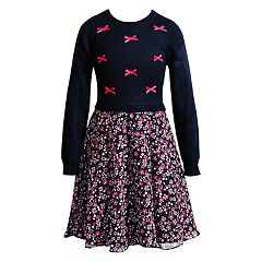 Girls 7-16 Emily West Bow Applique & Floral Skirt Dress