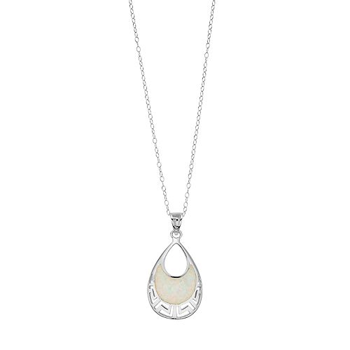 Sterling Silver Simulated Opal Double Teardrop Pendant Necklace