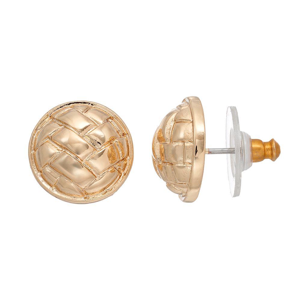 Napier Basket Weave Dome Nickel Free Stud Earrings