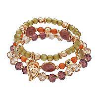 Leaf Charm Beaded Stretch Bracelet Set