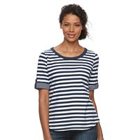 Women's Caribbean Joe Striped Elbow-Sleeve Tee