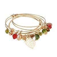 Beaded Leaf & Acorn Charm Bangle Bracelet Set
