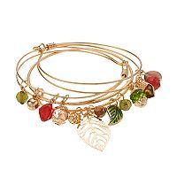 Beaded Leaf & Acorn Charm Bangle Bracelet Set