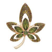 Green Openwork Leaf Pin