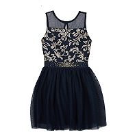 Girls 7-16 IZ Amy Byer Illusion Neckline Navy Dress