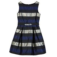 Girls 7-16 IZ Amy Byer Metallic Striped Pleated Dress