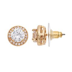 Napier Cubic Zirconia Halo Stud Earrings