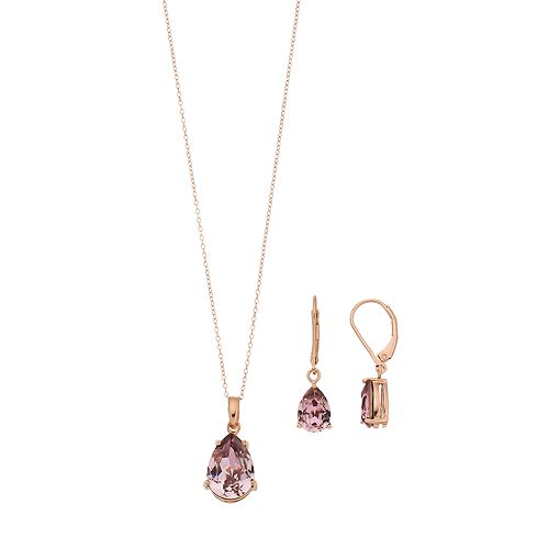 Sterling 'N' Ice 14k Gold Over Silver Cubic Zirconia Teardrop Pendant & Earring Set