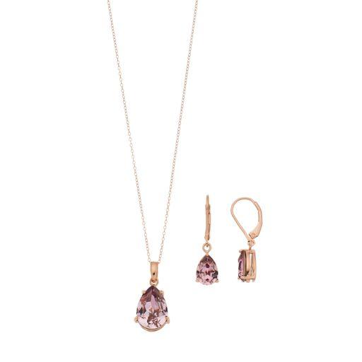 Sterling 'N' Ice14k Gold Over Silver Cubic Zirconia Teardrop Pendant & Earring Set