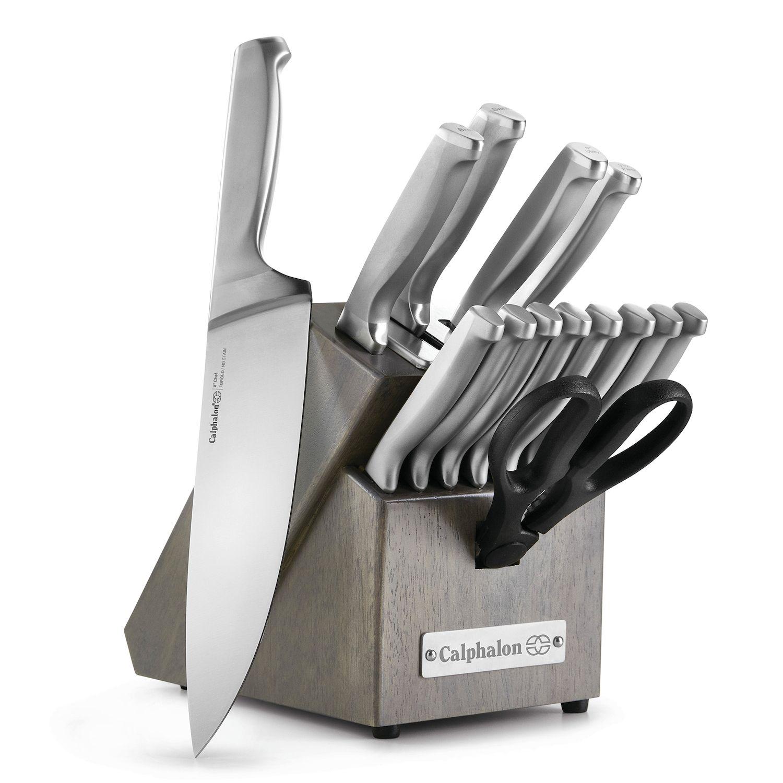 calphalon classic sharpin 15pc stainless steel knife block set