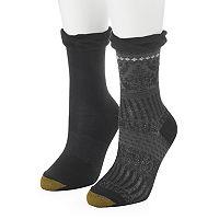 Women's GOLDTOE 2-pk. Microfiber Scrollwork Slouchy Cuff Crew Socks