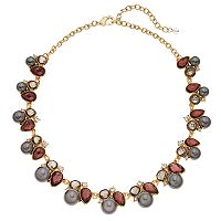 Napier Simulated Pearl Stone Cluster Necklace