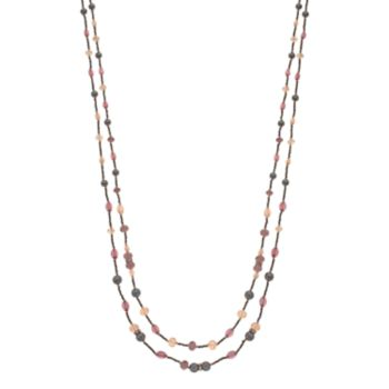 Napier Long Simulated Pearl Beaded Double Strand Station Necklace