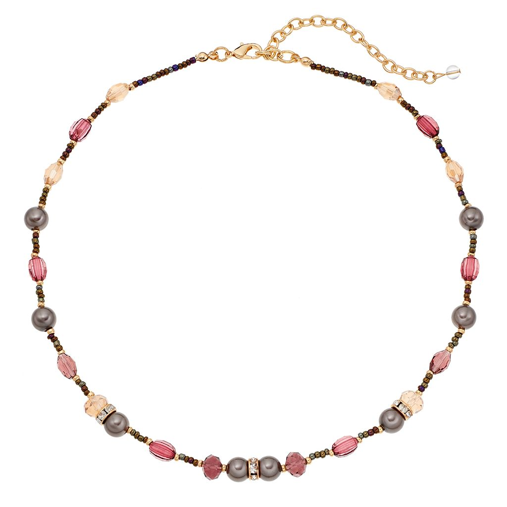 Napier Simulated Pearl Seed Bead Necklace