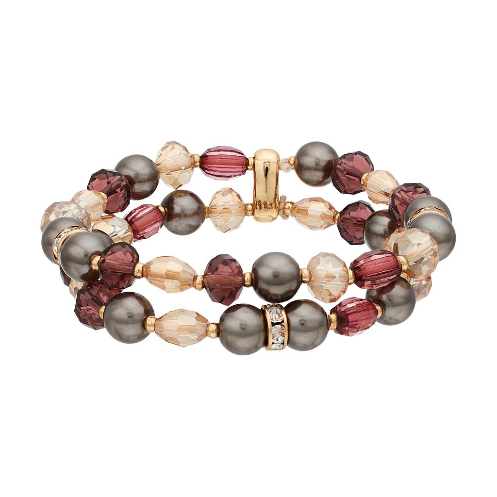 Napier Simulated Pearl Beaded Double Strand Stretch Bracelet