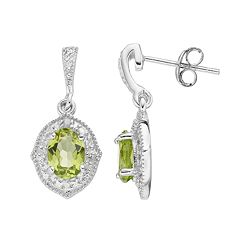 RADIANT GEM Sterling Silver Peridot & Diamond Accent Drop Earrings