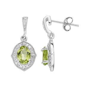 RADIANT GEM Sterling Silver Peridot & Diamond Accent Drop Earrings