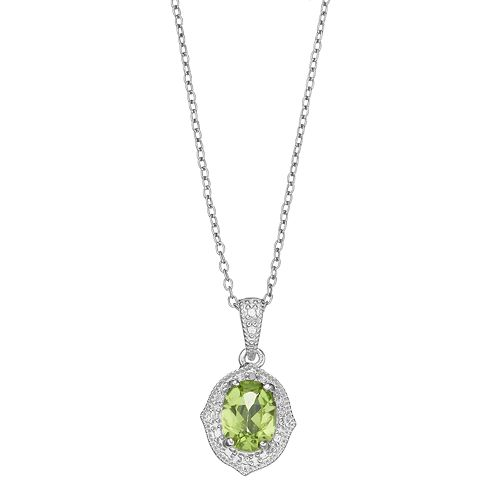 RADIANT GEM Sterling Silver Peridot & Diamond Accent Pendant