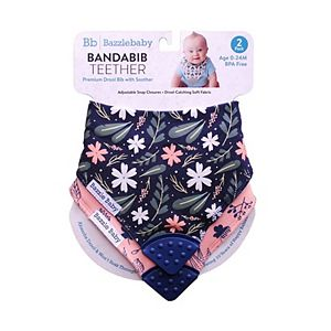 Bazzle Baby 2-pk. Hearts & Leaf Bandana Bib with Teether Set