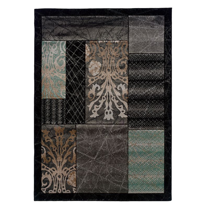 Linon Milan Framed Patchwork II Rug, Black, 5X7 Ft Bring it all together with this Linon Milan Framed Patchwork II rug. In black.FEATURES Powerloomed Plush heat-set pile Framed border Patchwork pattern CONSTRUCTION & CARE Polypropylene Pile height: 0.5'' Spot clean Manufacturer's 1-year limited warrantyFor warranty information please click here Imported Attention: All rug sizes are approximate and should measure within 2-6 inches of stated size. Pattern may also vary slightly. This rug does not have a slip-resistant backing. Rug pad recommended to prevent slipping on smooth surfaces. . Size: 5X7 Ft. Gender: unisex. Age Group: adult. Pattern: Novelty.