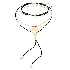 Bar Drop, Multi Strand & Lariat Choker Necklace Set