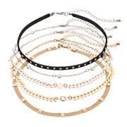 Chevron & Studded Choker Necklace Set