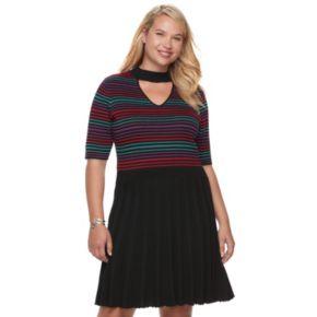 Juniors' Plus Size Candie's® Choker Neck Skater Dress