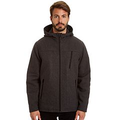 Men's Haggar Stretch Wool-Blend Hooded Open-Bottom Jacket