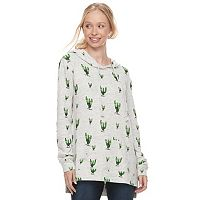 Juniors' Mighty Fine Cactus Cozy Tunic Hoodie