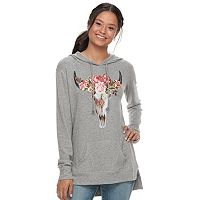 Juniors' Mighty Fine Cow Skull Tunic Hoodie