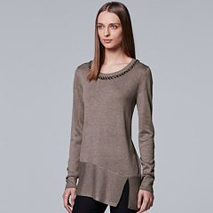 Women's Simply Vera Vera Wang Asymmetrical Embellished Sweater
