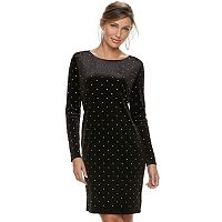 Women's Jennifer Lopez Embellished Velvet Sheath Dress