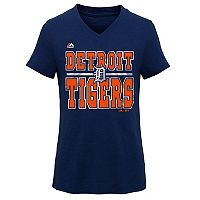 Girls 7-16 Majestic Detroit Tigers On Base Tee