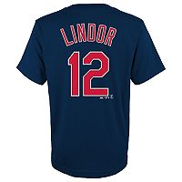 Boys 8-20 Majestic Cleveland Indians Francisco Lindor Name & Number Tee