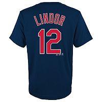 Boys 8-20 Majestic Cleveland Indians Francisco Lindor Name & Number Tee