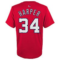 Boys 8-20 Majestic Washington Nationals Bryce Harper Name & Number Tee