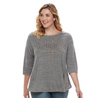 French Laundry Plus Size Embroidered Swing Top