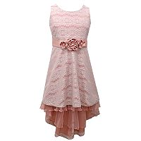 Girls 7-16 & Plus Size Bonnie Jean Bonded Lace High-Low Hem Dress