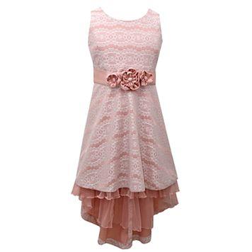 Girls 7-16 & Plus Size Bonnie Jean Bonded Lace High-Low Hem Dress