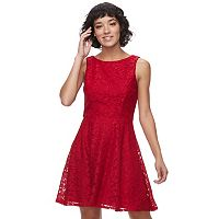Juniors' Speechless Glitter Lace Skater Dress