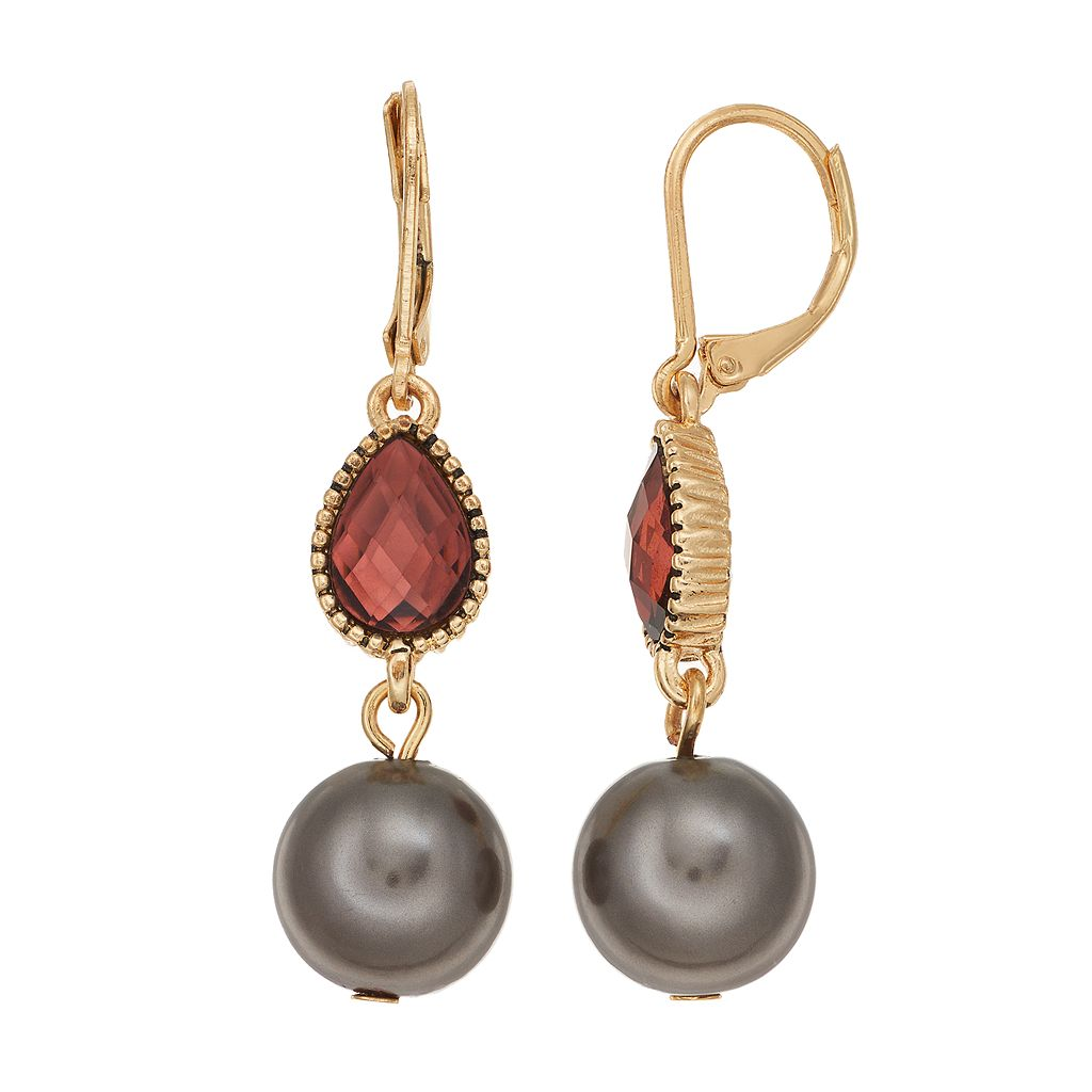 Napier Simulated Pearl Teardrop Earrings