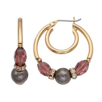 Napier Beaded Double Hoop Earrings